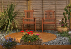 A garden patio with furniture